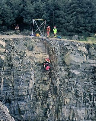 The dog being rescued from the depths of a Co Armagh quarry