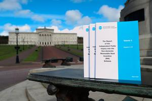 Copies of the published report from the RHI Inquiry outside Stormont