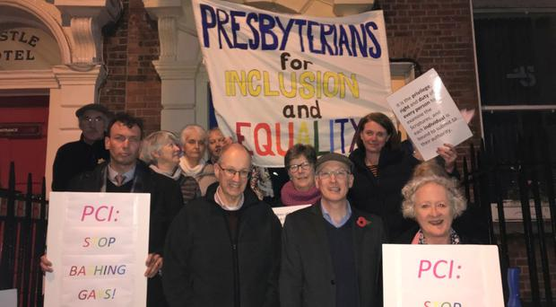 The protest outside the Presbytery meeting in Dublin