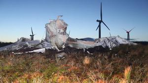 The shattered base of the collapsed turbine