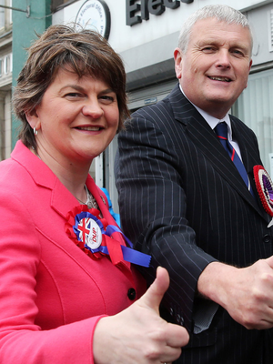 South Down MLA Jim Wells with DUP leader Arlene Foster in April 2016