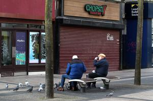 There were more pigeons than shoppers when the Royal Avenue area of Belfast opened for business on Friday morning.