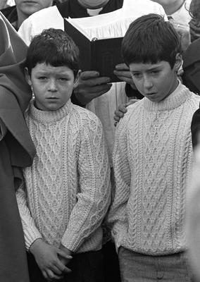 Declan McGlinchey (right) at age 11 with brother Dominic (9) at the funeral of their mother