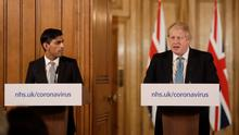 Chancellor Rishi Sunak with Prime Minister Boris Johnson at Downing Street yesterday