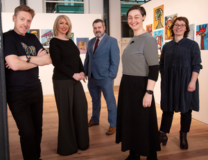From left: Paul Bosco McEneaney, Cahoots NI; Una Nic Eoin, Prime Cut Productions; Brian Mullan, Replay Theatre Company; Eibhlin de Barra, Young At Art, and Nicola Curry, Maiden Voyage Dance