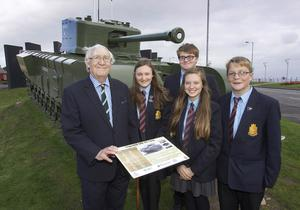 David McCorkell, a trustee of the NI Horse Regimental Association, with Downshire pupils Kyle Bell, Adam McFarland, Alex Montgomery and Bethan White at the unveiling