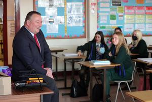 Principal Gary Greer with his pupils at Bloomfield Collegiate