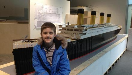 It's not a toy: Brynjar Karl Birgisson with the largest ever Titanic replica made from Lego bricks