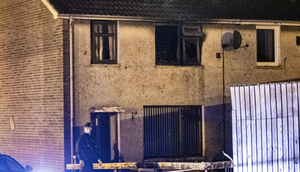 Tragedy: Emergency services at the scene of the fatal fire in the Ballykeel estate in Ballymena