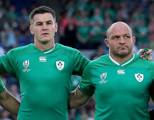 Rory Best standing for the Irish national anthem in Japan