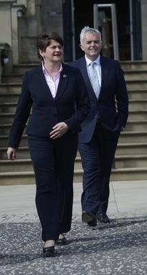 First Minister Arlene Foster and Jonathan Bell at Stormont last year