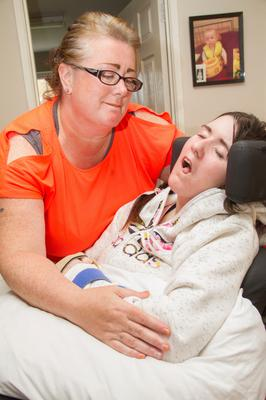 Carol Corr with her daughter after Joleen suffered the injuries that would ultimately end her life