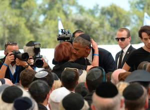 Funeral: President Barack Obama with Peres' daughter Tsvia Walden