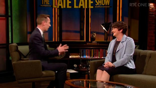 Arlene Foster with Ryan Tubridy on The Late Late Show