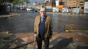 Alex Bunting returns to Boyne Bridge in South Belfast where he lost a leg following a booby-trapped bomb attack (Liam McBurney/PA)