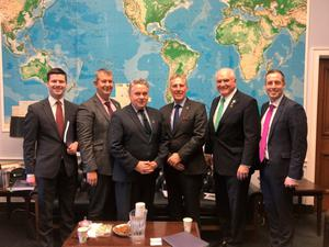Ian Paisley MP (third from right), Edwin Poots MLA (second from left) and Paul Givan MLA (right) meet with members of Congress in Washington DC