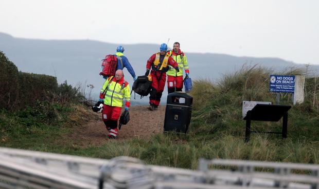 Emergency workers at Ballycastle beach