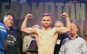 Champion Carl Frampton during the weigh-in ahead of his title defence against Chris Avalos at the Odyssey Arena tonight