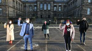 (left to right) Sinead Marmion solicitor for Phoenix Law, Cuthbert Tura Arutura, Ivanka Antova, Sipho Sibanda, and People Before Profit Belfast City Councillor Matt Collins (Liam McBurney/PA)