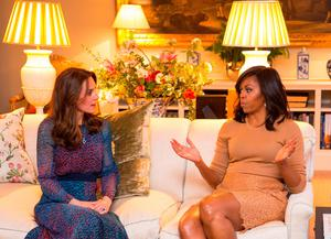 The Duchess of Cambridge and Michelle Obama deep in conversation