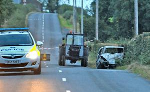 Police at the scene of the accident in Ballywalter where a man was critically injured