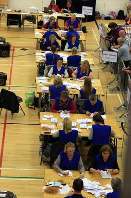 Election count at Omagh Leisure Complex