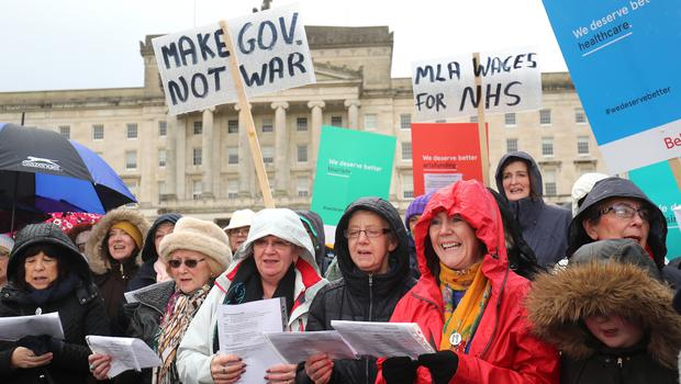 A previous We Deserve Better protest at Stormont calling for MLAs to get back to work