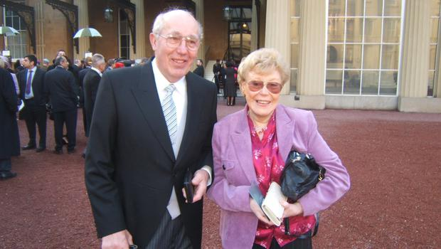 Morris Foster with his wife Maureen outside Buckingham Palace
