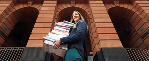 Libraries NI Communications Officer Sarah Jayne Miskelly prepares for the reopening of Northern Ireland libraries this week at Belfast Central Library