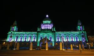 Belfast City Hall is lit up green and white in tribute to the home town hero Carl Frampton