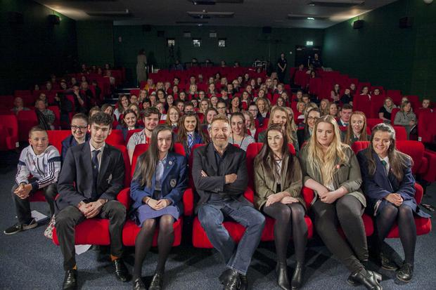 Sir Kenneth with students at the QFT in Belfast