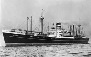 The MV Schiedyk when it was first built in Belfast in 1949 (National Museums NI/PA)