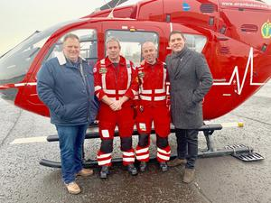 Malachi Cush (right) and Andrew Trotter (left) with the Air Ambulance team