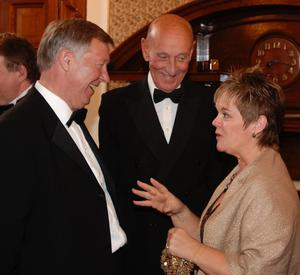 George Best's sister Barbara McNarry at a functon with the late Roger Williams and Sir Alex Ferguson