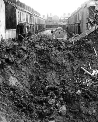 A huge crater at Ravenscroft Avenue off the Newtownards Road after the Blitz of 1941