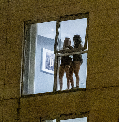 Party: revellers in Obel Tower 64