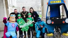 Lord Mayor Daniel Baker joins twins Conan and Che McConnell, Q Radio duo Ryan and Jordan, Captain Cleanup and Q Man to launch St Patrick's Day celebrations in Belfast