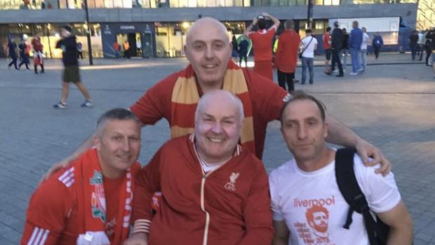 Gerry Shearer and fellow Liverpool fans still smiling despite their nightmare trip to Kiev