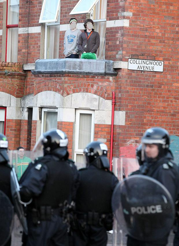 Flashback to 2009 - Scenes from Belfast's Holyland area during disturbances on St. Patricks day.