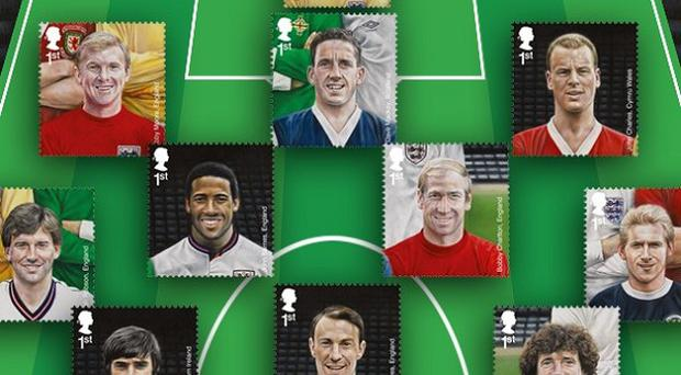 A new set of stamps commemorate some of the UK's most famous football heroes (Royal Mail/PA)