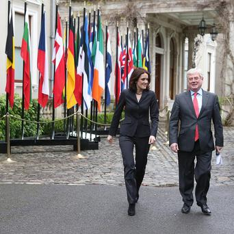 Tanaiste Eamon Gilmore meets Northern Ireland Secretary Theresa Villiers at Farmleigh House in Dublin for talks. PRESS ASSOCIATION Photo. Picture date: Monday February 11, 2013. Photo credit should read: Niall Carson/PA Wire