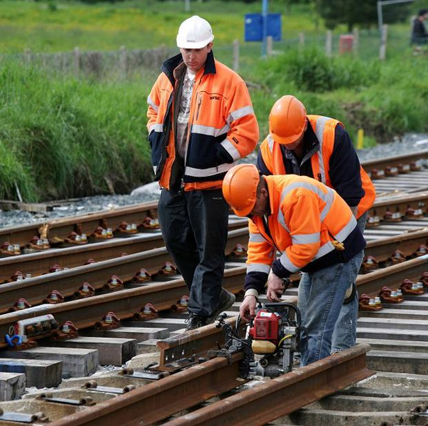 Work being carried out on the 30 million pounds upgrade on the stretch of track between Coleraine and Londonderry