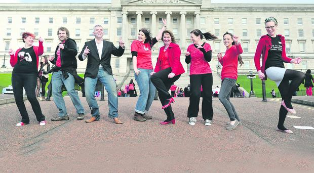 MLA's Jonathon Bell and Jennifer McCann join the flash mob