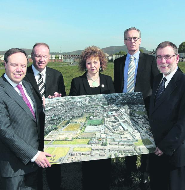 Left to right - Nigel Dodds MP, William Humphrey MLA, Minister Carál Ní Chuilín, Gerry Kelly MLA, Minister Nelson McCausland and Alban Maginness MLA