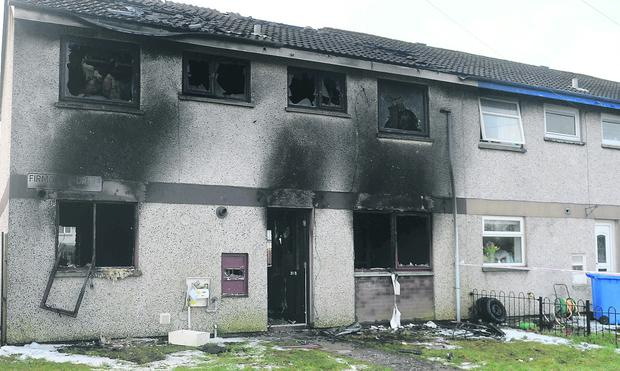 House destroyed by fire in Antrim