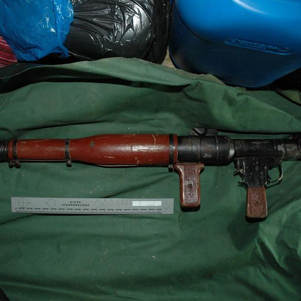 The rocket launcher which was found at a house in West Belfast by officers probing dissident republicanism