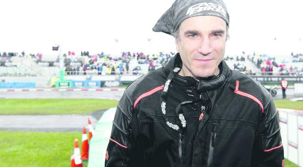 Daniel Day-Lewis sporting his motorbike leathers