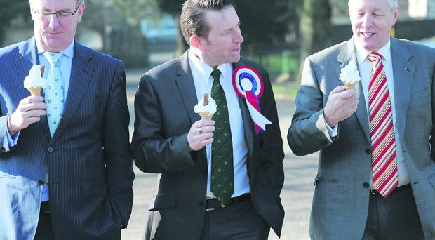 First Minister Peter Robinson is pictured with Ulster Unionist leader Mike Nesbitt and Unionist candidate Nigel Lutton