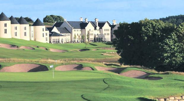 Lough Erne Resort, County Fermanagh, Northern Ireland, viewed from across the golf course.
