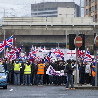Two of the most high profile Union flag demonstrators have appeared in court